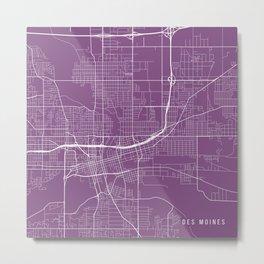 Des Moines Map, USA - Purple Metal Print