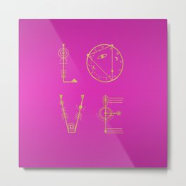 Love in Sacred Geometric Letters Metal Print