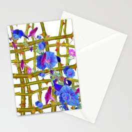 BLUE MORNING GLORIES THORN LATTICE DESIGN Stationery Cards