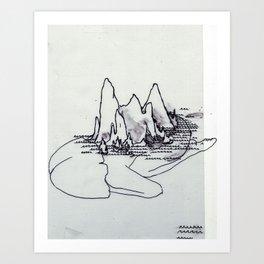 Mountain Girl in the Sea Art Print