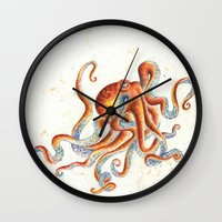 octopus Wall Clocks featuring Octopus by Patrizia Ambrosini
