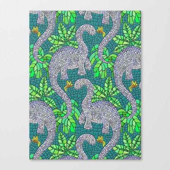 Mosaic Dinosaurs and Hummingbirds Canvas Print