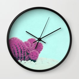 Vintage Pink Cactus on Blue Wall Clock