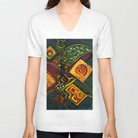 sparkles V-neck T-shirts featuring GALAXY SPARKLES by Deyana Deco