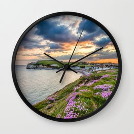 Freshwater Bay Sea Thrift Sunset (V) Wall Clock