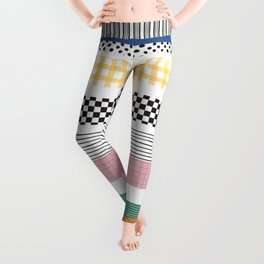 Mixed Pattern Stripe Print Color Blocking Leggings