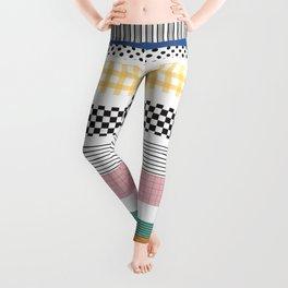 Mixed Pattern Stripe Print Color Blocking Leggings