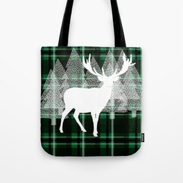 Green Plaid with Deer: Holiday Print Tote Bag