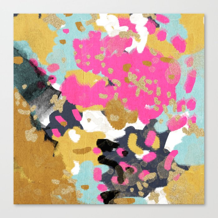 Sacha Abstract Painting Boho Color Palette Bright Happy Dorm College Abstract Art Canvas Print By Charlottewinter