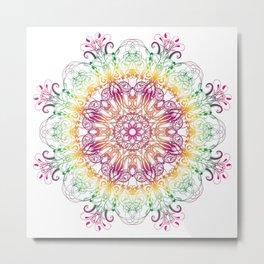 Ethnic floral gradient mandala. Metal Print