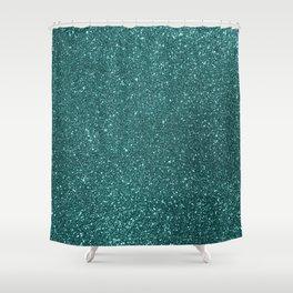 Aqua Teal Turquoise Glitter Shower Curtain