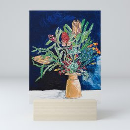 Yellow and Red Australian Wildflower Bouquet in Pottery Vase on Navy, Original Still Life Painting Mini Art Print
