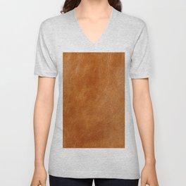 Rustic ginger smooth natural brown leather, vintage nature texture Unisex V-Neck