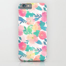 Pink Blue Hand Paint Floral Girly Design iPhone Case