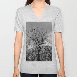 Witchy black and white tree Unisex V-Neck