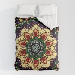 Mandala Deisgn in Navy and Yellow Comforters