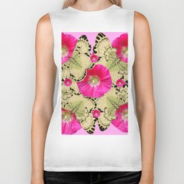 PINK ON PINK HOLLYHOCK FLORAL & YELLOW-BLACK BUTTERFLY Biker Tank
