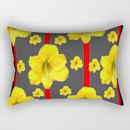 YELLOW AMARYLLIS BLACK-RED DECO ART Rectangular Pillow