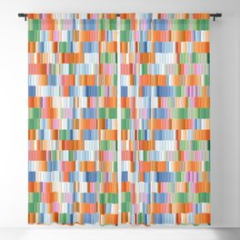 Fire, Earth, Air, and Water Colored Block Pattern Blackout Curtain