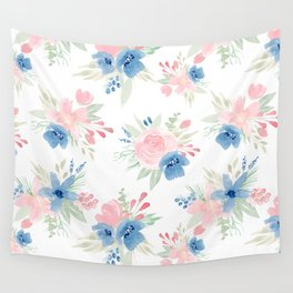 Blush Pink and Navy Watercolor Florals Wall Tapestry