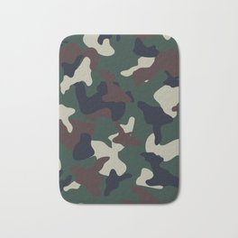 Green Brown woodland camo camouflage pattern Bath Mat