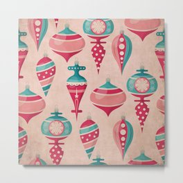 Candy Colored Christmas Ornaments Pattern Mid Century Style Metal Print