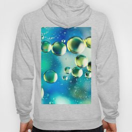 Macro Water Droplets  Aquamarine Soft Green Citron Lemon Yellow and Blue jewel tones Hoody