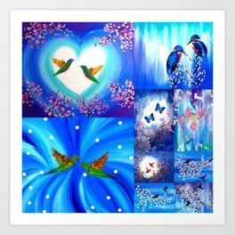 Blue designs Art Print