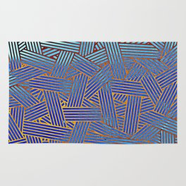 Blue gradient abstract lines Rug