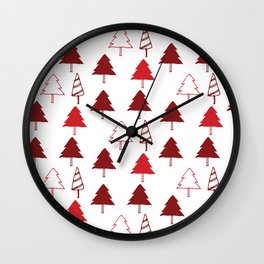 Christmas Tree Red and White Wall Clock