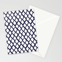 Rhombus White And Blue Stationery Cards