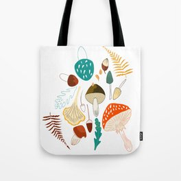 Mushrooms and leaves in autumn Tote Bag