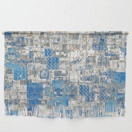 Multi Geometrical Pattern Faded Blues Wall Hanging