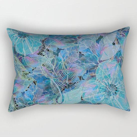 Blue-blue and Some Pink Blob Rectangular Pillow