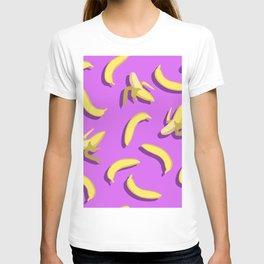banana pattern on purple background. T-shirt