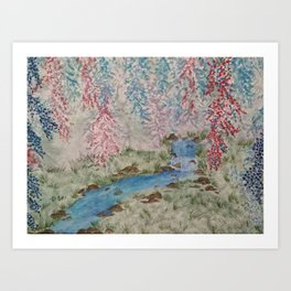 Willows & Waterfall Art Print
