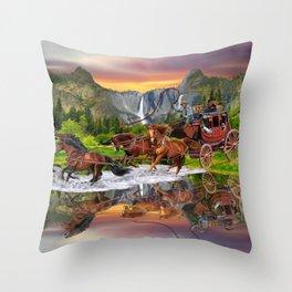 Wells Fargo Stagecoach Throw Pillow