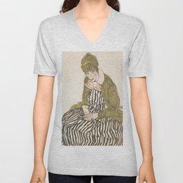 Egon Schiele - Edith with Striped Dress, Sitting Unisex V-Neck