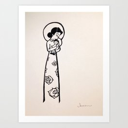 Madonna and Child as Vietnamese (yellowed effect) Art Print