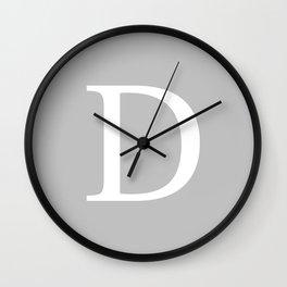 Silver Gray Basic Monogram D Wall Clock