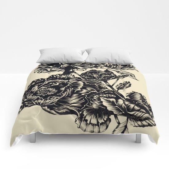 Peonies, black & white  Comforters