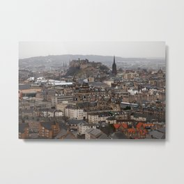 Edinburgh in the Rain Metal Print