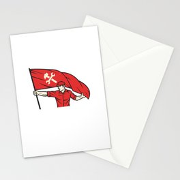 worker holding a flag - industry poster (design for labor day) Stationery Cards