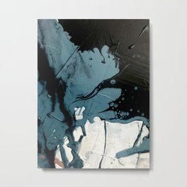 Fortune [5]: A bold, minimal, abstract mixed-media piece in blue and black Metal Print