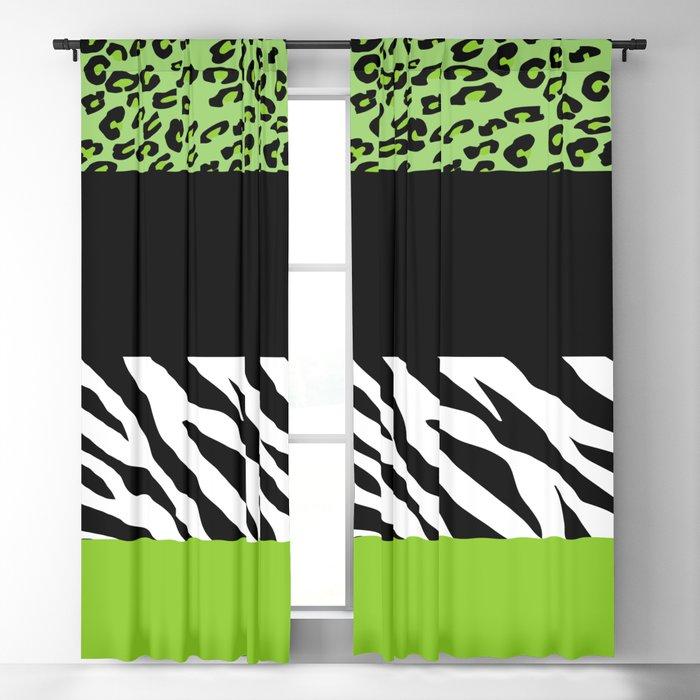 Animal Print, Zebra Stripes, Leopard Spots - Green Blackout Curtain