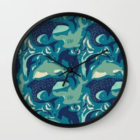 sharks Wall Clocks featuring Sharks by Dani Tea