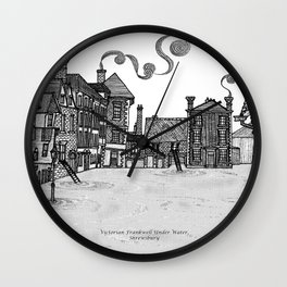 Victorian Frankwell Under Water, black and white Wall Clock