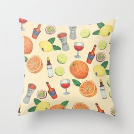 cocktail recipe pattern _ zombie Throw Pillow