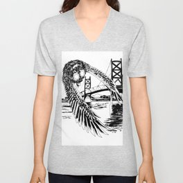 Mothman loves bridges Unisex V-Neck