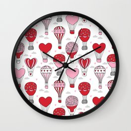 hot air balloon love valentines day gifts heart shape girls nursery Wall Clock